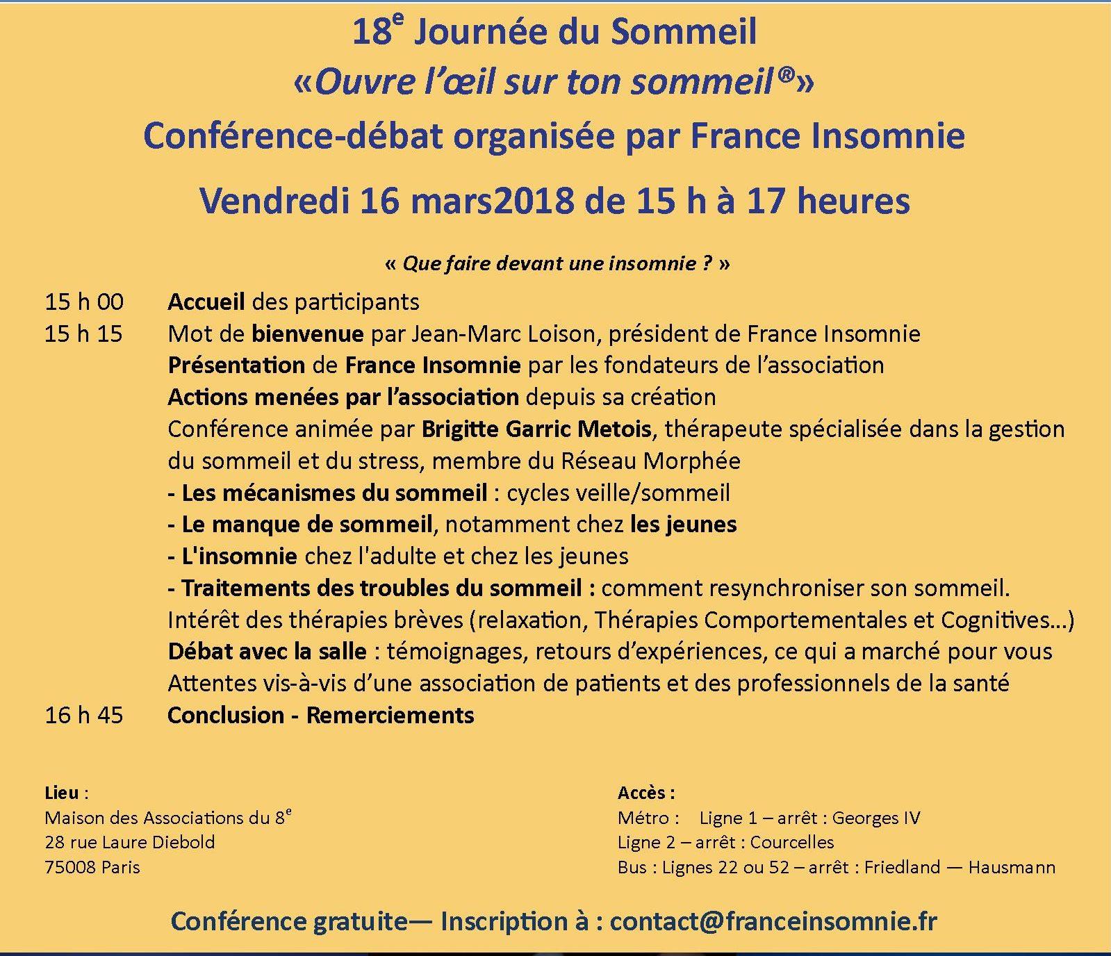 Affiche conférence-débat du 16 mars 2018 Journée du sommeil V5
